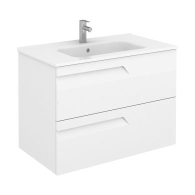 Frontline Royo Vitale 810mm Slimline Double Drawer Wall Hung Vanity Unit and Square Basin