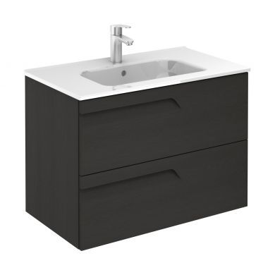Frontline Royo Vitale 810mm Slimline Double Drawer Wall Hung Vanity Unit and Square Basin - Urban Grey