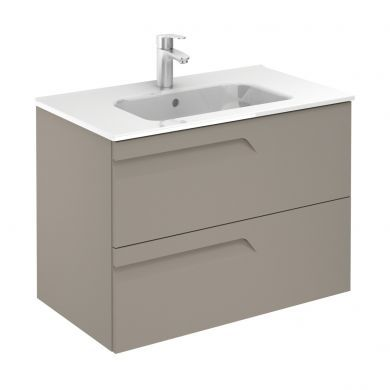 Frontline Royo Vitale 810mm Slimline Double Drawer Wall Hung Vanity Unit and Square Basin - Smoke